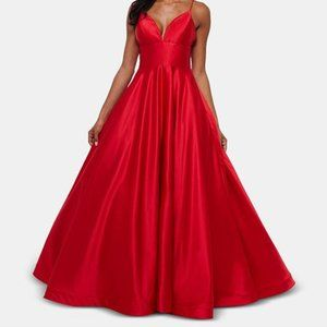 Betsy and Adam Satin Evening Gown in Red